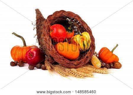 Thanksgiving Cornucopia With Pumpkins, Apples And Gourds Isolated On A White Background