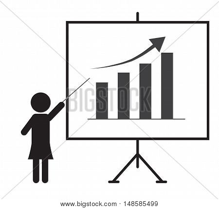 business woman presenting something on a board together