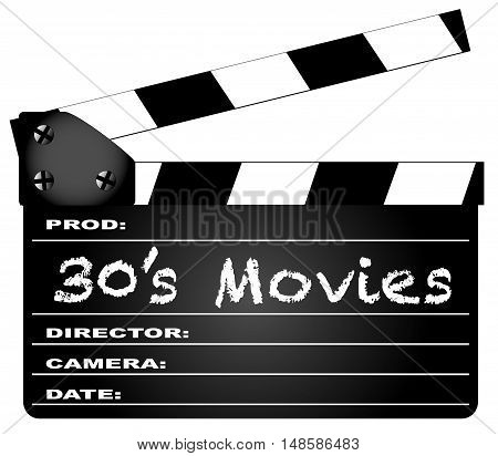 A typical movie clapperboard with the legend 30's Movies isolated on white.