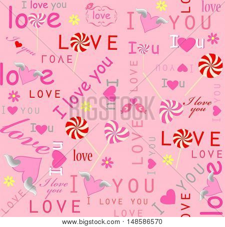Funny pink wallpaper for Valentines day with lovely print