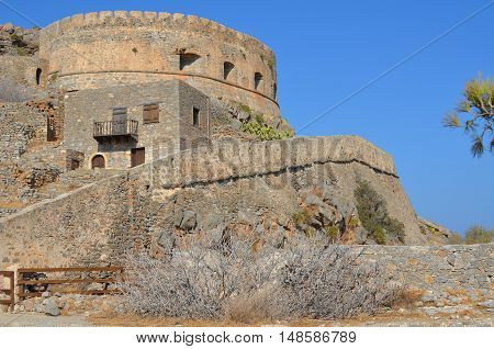Spinalonga island fortress ruined by the time