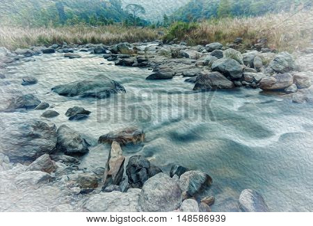 Beautiful Reshi River water flowing through stones and rocks at dawn Sikkim India. Oil paint effect. Reshi is one of the most famous rivers of Sikkim flowing through the state and serving water to many local people.