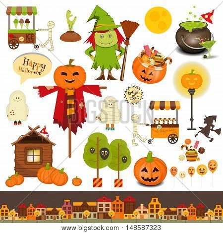 Halloween Set of Trick or Treat Objects on White Background. Vector Illustration.