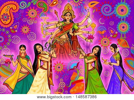 Vector design of Indian woman doing dhunuchi dance of Bengal during Durga Puja Dussehra celebration in India