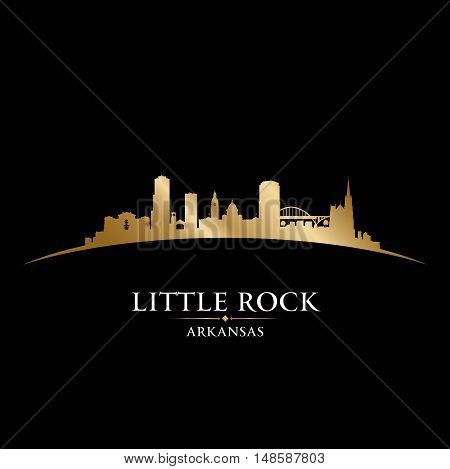 Little Rock Arkansas City Silhouette Black Background