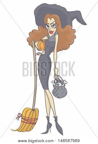 Beautiful, attractive witch with long brown hair holding pumpkin, broom and pot. Vector cartoon of witch woman.