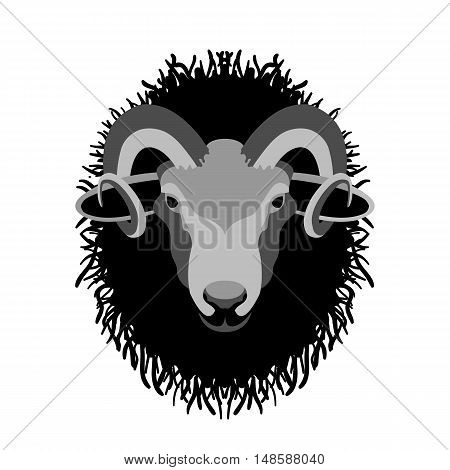 ram head vector illustration style Flat face
