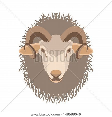 ram head vector illustration style Flat side front