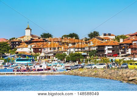 Nesebar, Bulgaria - July 25, 2016: Port, cruise boats and old town view in Nessebar in Bulgaria