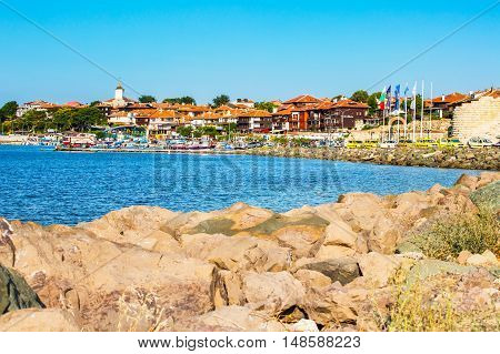 Nessebar, Bulgaria - July 25, 2016: Port, cruise boats and old town view in Nesebar in Bulgaria