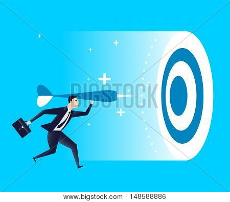 businessman trying to get into target .business concept. vector illustration