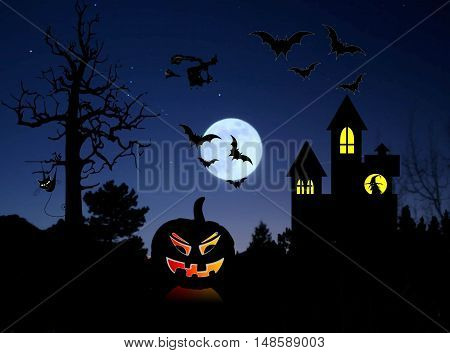 Black silhouette of a witch on a broom flying in the night sky