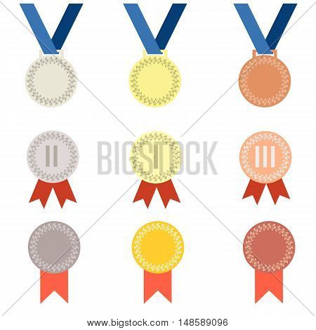 Set of nine vector medal icon in flat style. Gold medal silver medal bronze medal. Medal with ribbon. Medal winner. Isolated medal on white background.
