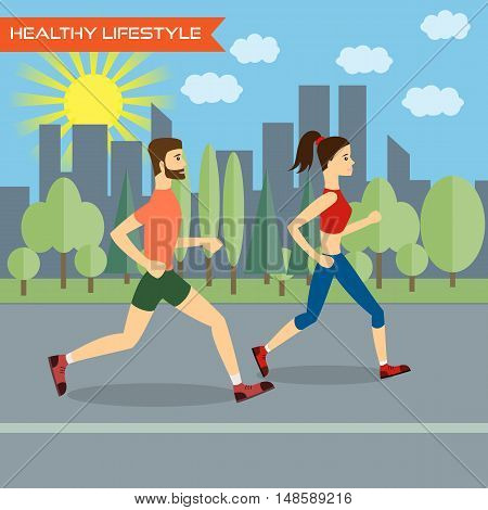 Young man and young woman fitness runners on city background. Healthy way of life exercise and run. Vector illustration.