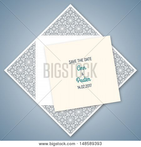 Wedding invitation with geometric pattern. Cut laser square envelope template for greeting cards envelopes invitations. Vector paper cutting ornamental panel. Die cut card.