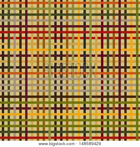 Flat checkered pattern. Seamless. Autumn colors. Endless background. Colorful horizontal and vertical bars. Simple texture.