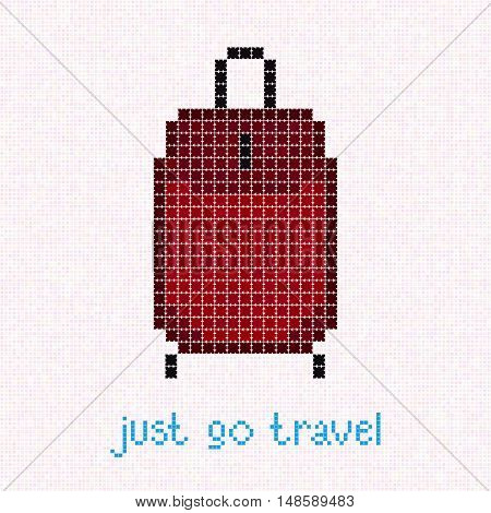 Just go Travel! Pixel art banner with red suitcase. Rolling Luggage. Crimson wheeled bag illustration. Warm colored travel bag for Old lady.