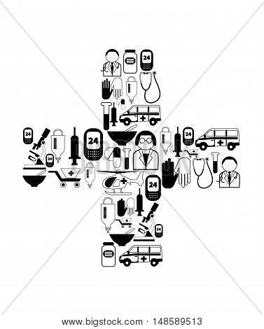 Medical icons isolated on white. Set of vector icons with ambulance helicopter stethoscopes doctor nurse drugs in shape of cross.