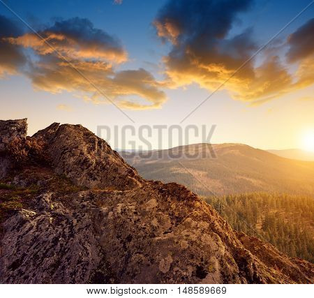 Beautiful mountain landscape in the National park Sumava at sunset, Czech Republic