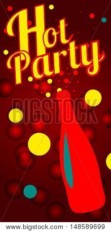 Flyer for night club. Vector champagne bottle with fireworks confetti. Template for flyers banner billboard poster postcard label. Festive card for holiday birthday party Element for holiday