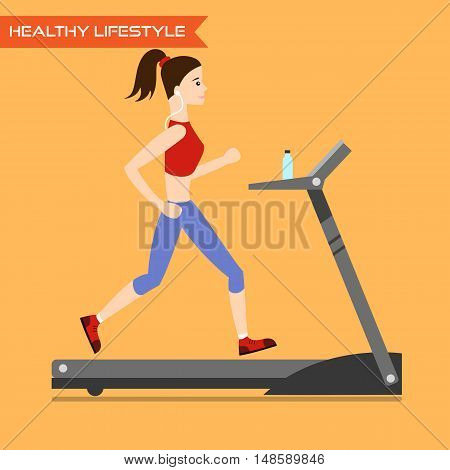 Young woman running on treadmill. Healthy way of life exercise and run. Vector flat illustration.