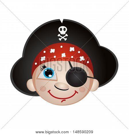 Icon smiley emoji smiling boy pirate in cocked hat on white background isolated