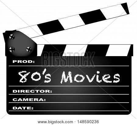 A typical movie clapperboard with the legend 80's Movies isolated on white.