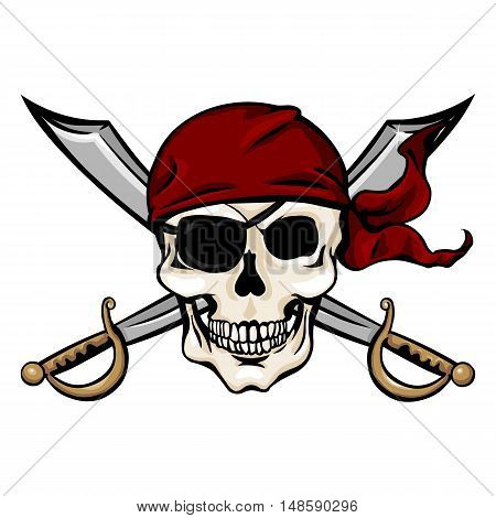 Vector Single Cartoon Pirate Skull In Red Bandana With Cross Swords
