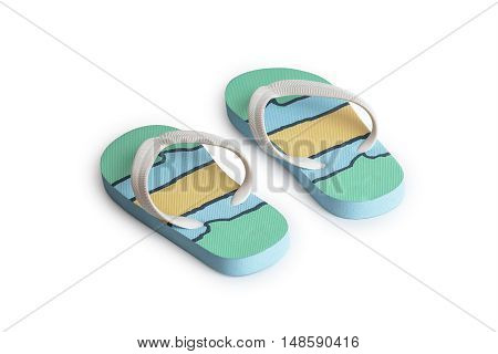 Kids summer colorful striped print flip flops isolated on white background