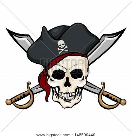 Vector Single Cartoon Pirate Skull In Tricorn With Cross Swords