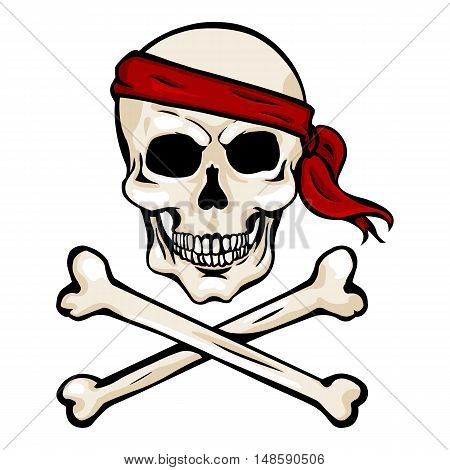 Vector Cartoon Pirate Skull In Red Headband With Cross Bones