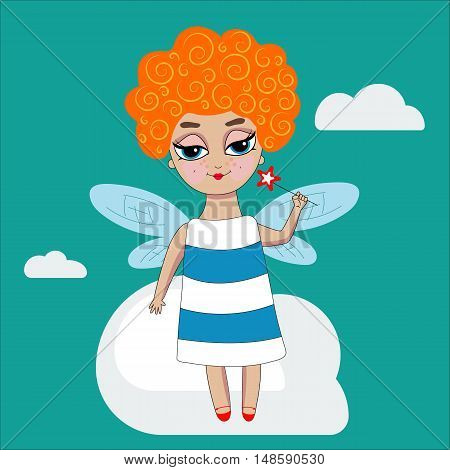 Fairy girl with dragonfly wings.Vector curly red-haired little character with magic wand in hand in dress isolated. Smiling cartoon baby standing on cloud. Hand-drawn illustration.