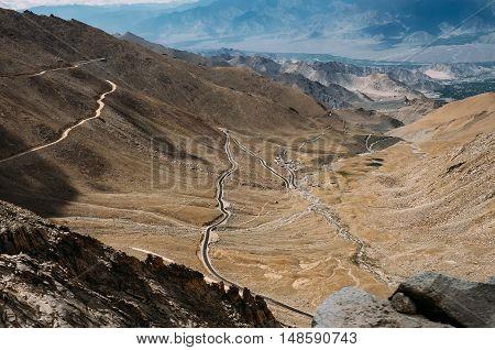Mountain road in Ladakh North India .