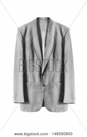 Basic gray wool jacket on white background