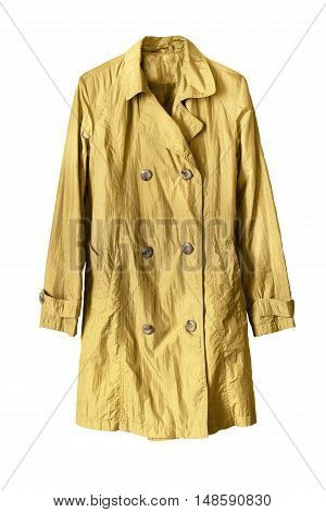 Yellow stylish raincoat isolated on white background