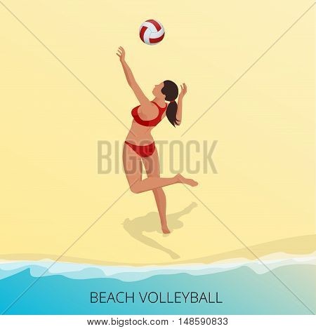 Isometric Volleyball player on a beach jumping hits the ball. Fitness or training concept. Sporting Championship International Beach Volley Match Competition