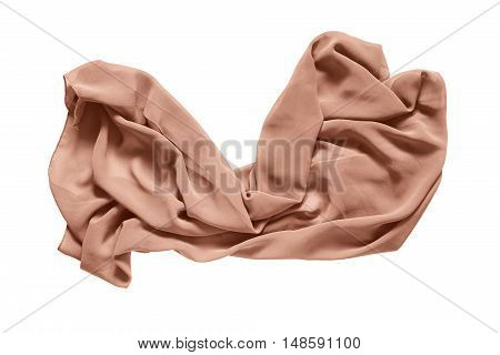 Crumpled silk beige kerchief on white background