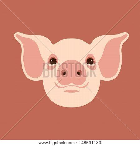pig head vector illustration style Flat face