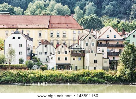 Beautiful old houses on the waterfront in Passau Germany. Travel destination. Beautiful place.