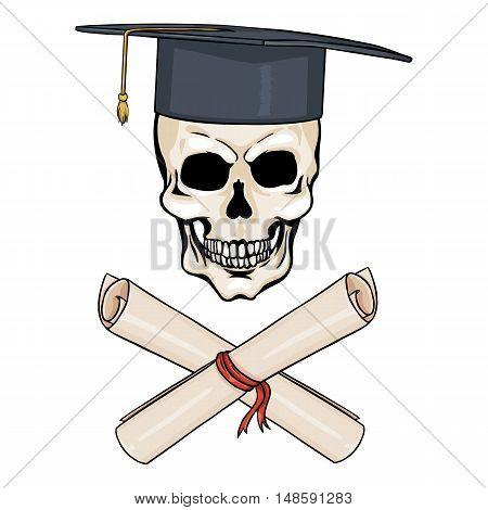 Vector Cartoon Character - Academic Skull And Crossed Scrolls