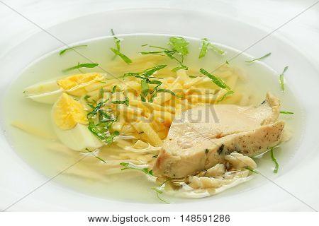 chicken broth. soup  a delicious healthy lanch