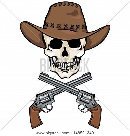 Vector Character - Skull Cowboy And Crossed Revolvers