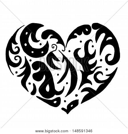 heart for coloring or tattoo isolated on white background