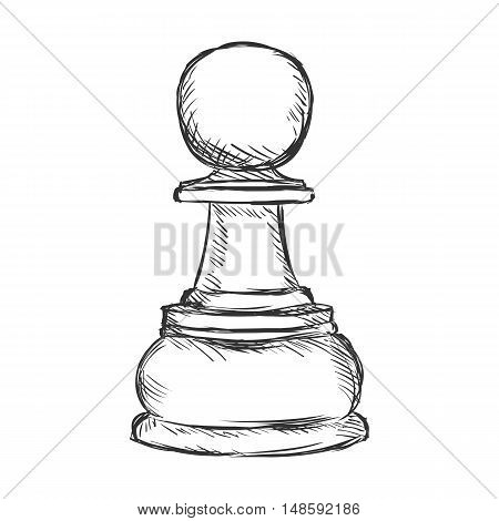 Vector Single Sketch Chess Figure - Pawn