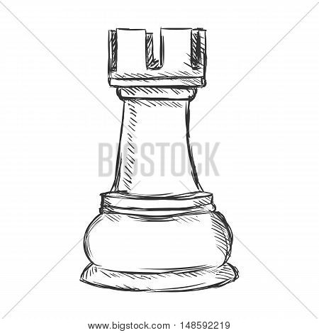 Vector Single Sketch Chess Figure - Rook
