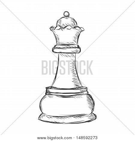 Vector Single Sketch Chess Figure - Queen