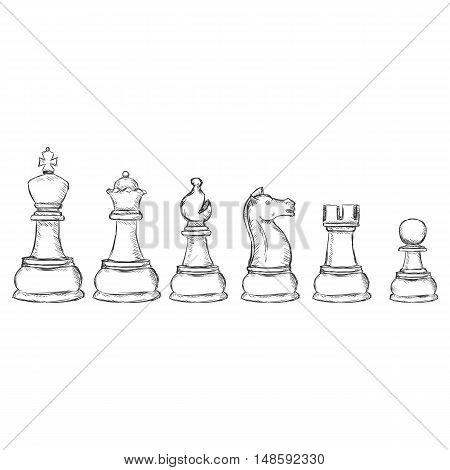 Vector Set Of Sketch Chess Figures