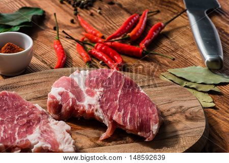 Two raw steak with chili cayenne powder and other condiment.