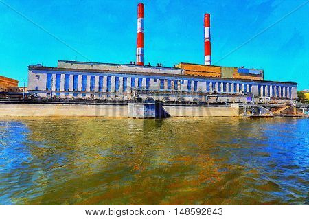 The Factory On The River Bank. Illustration