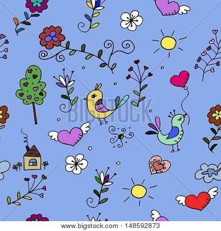 Seamless  pattern with hearts, birds and flowers for fabrick or babyroom